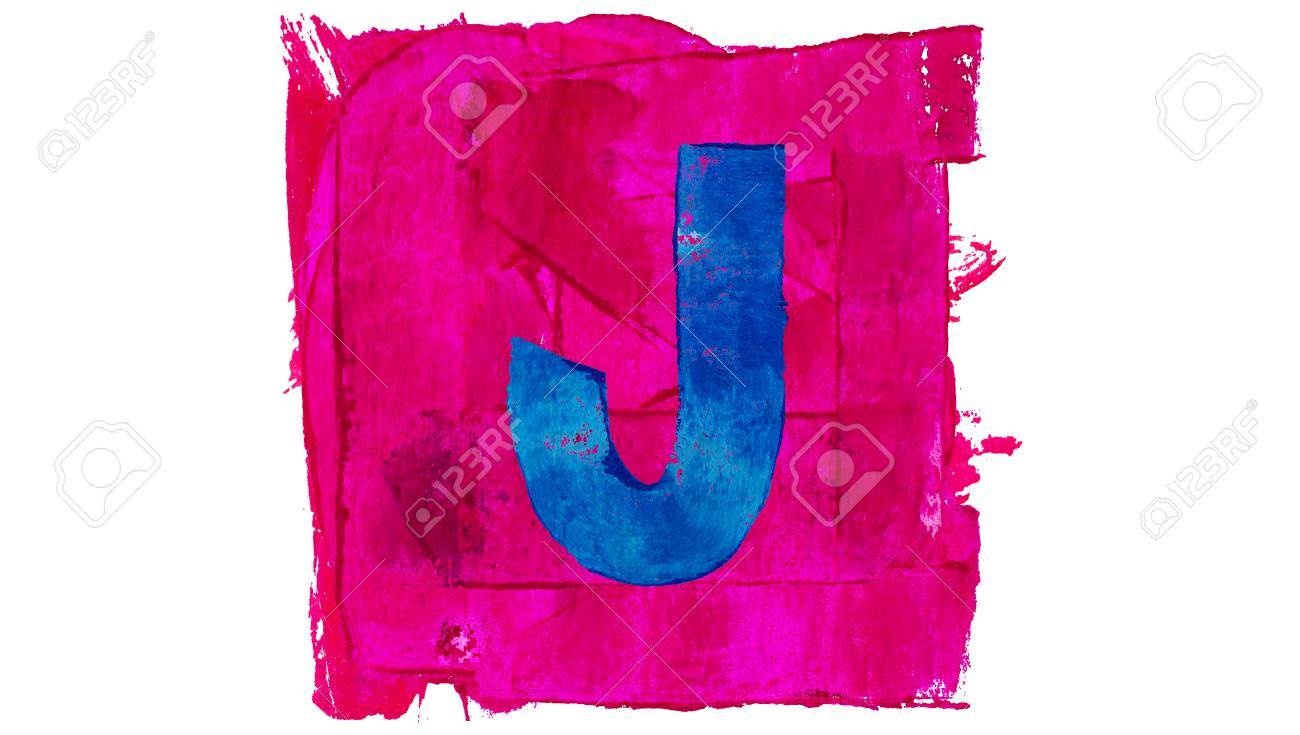 Letter J Symbol Of Alphabet Of Pink And Blue Colors Of Paint