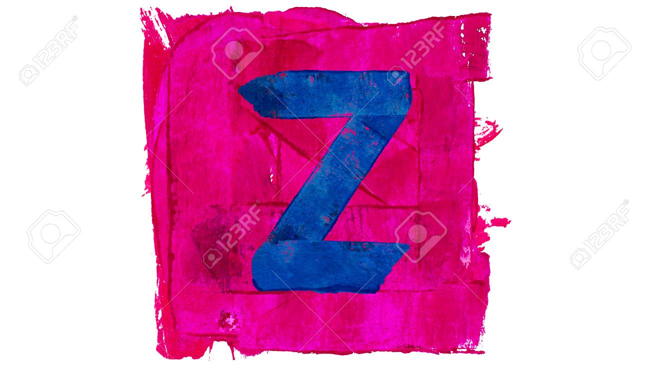 Letter Z Symbol Of Blue And Pink Paint Colors Stock Photo, Picture ...