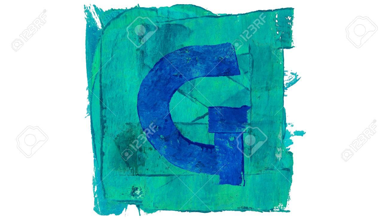 Lettre G Signe Sur La Couleur Bleu Peinture Carr Banque D Images Et
