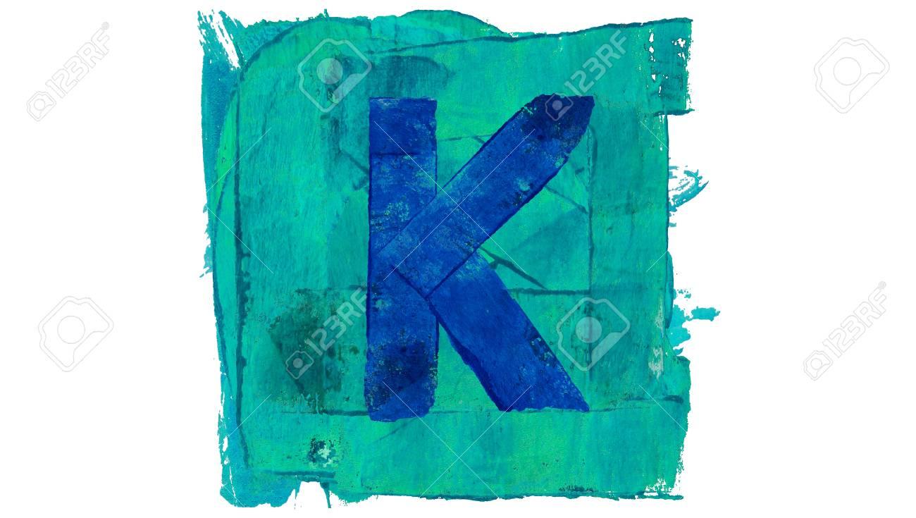 Letter K Symbol On Blue Color Paint Square