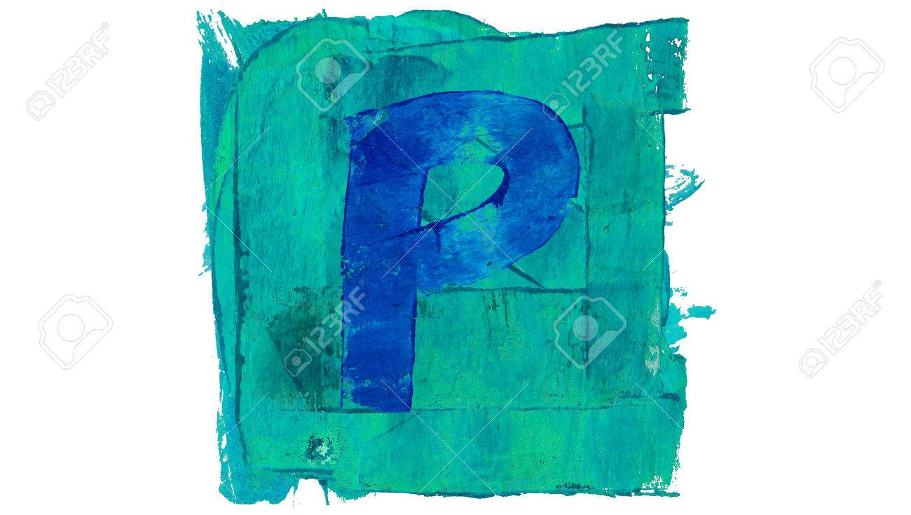 Letter P Symbol On Blue Color Painting Square Stock Photo Picture