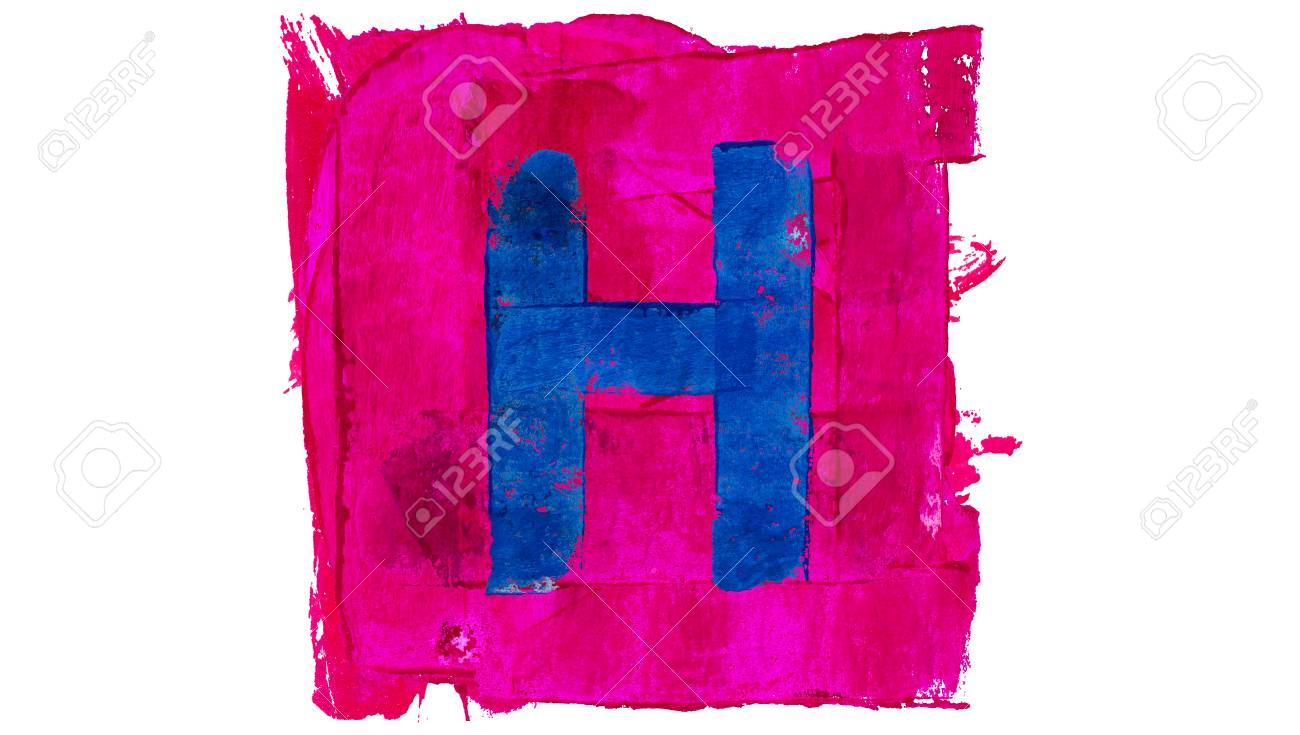 Letter H Sign Of Blue Paint On Pink Stock Photo, Picture And Royalty ...