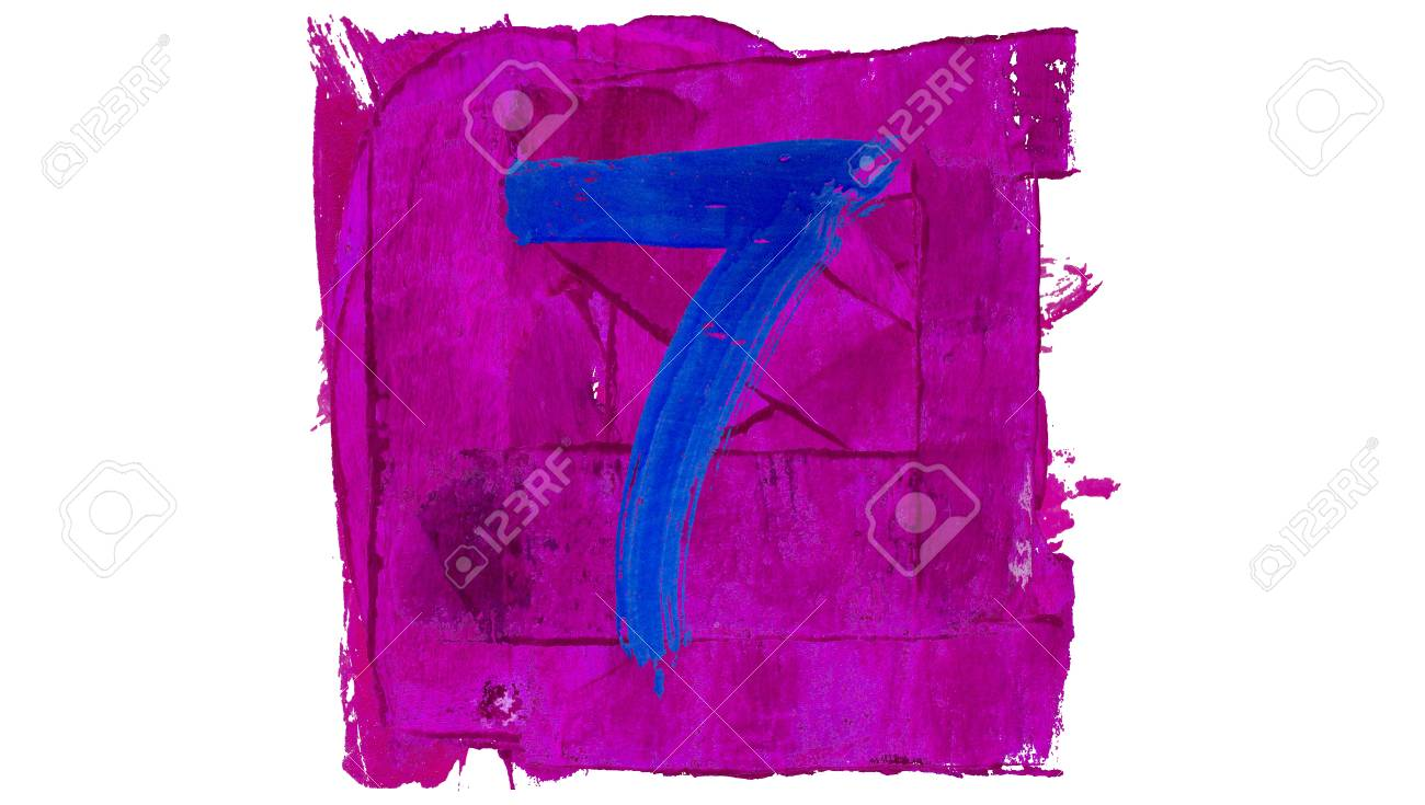 Number 7 Of Blue Paint On Purple Square Stock Photo, Picture And ...