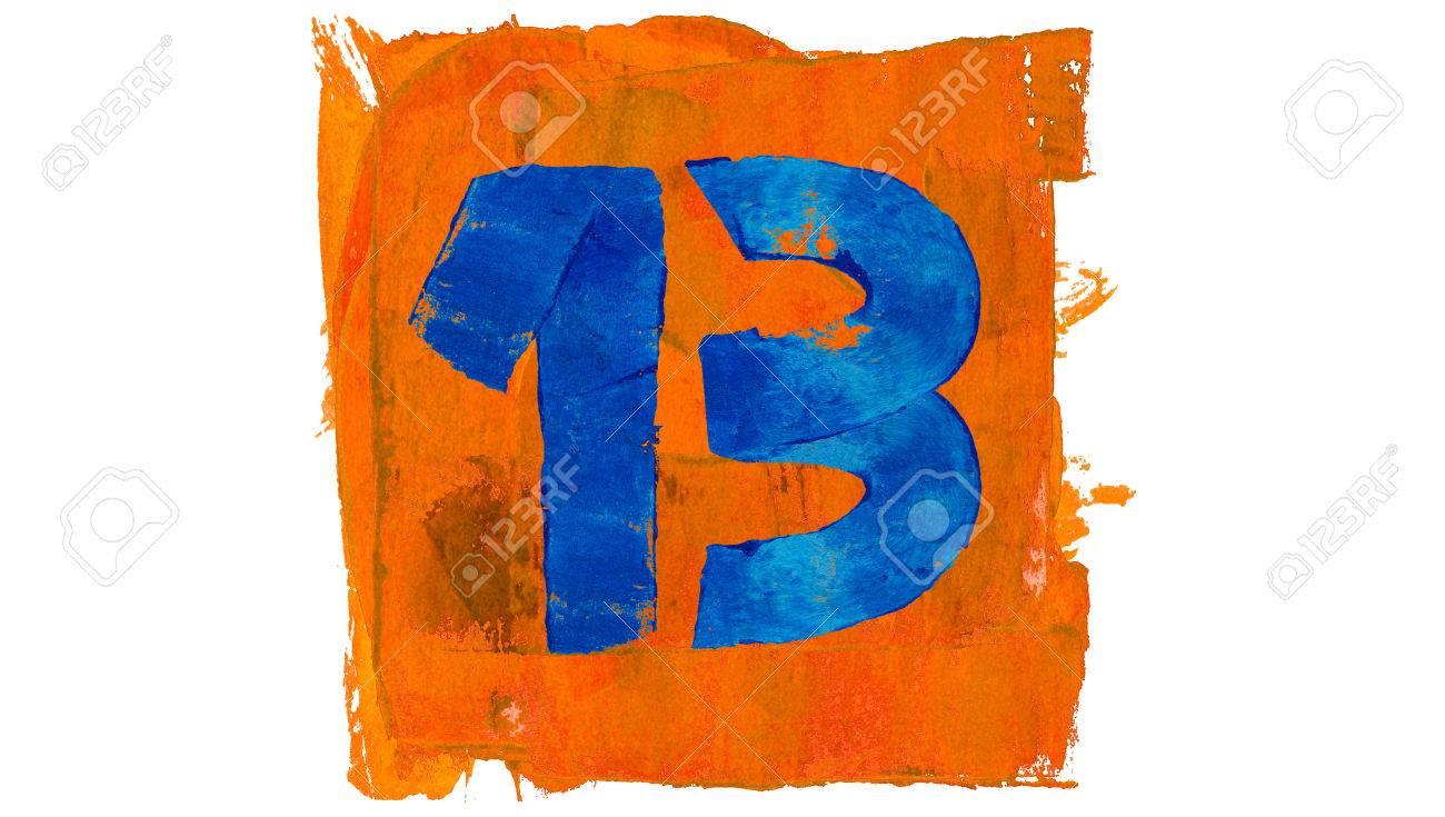 numéro 13 jours de couleurs de peinture bleu et orange banque d