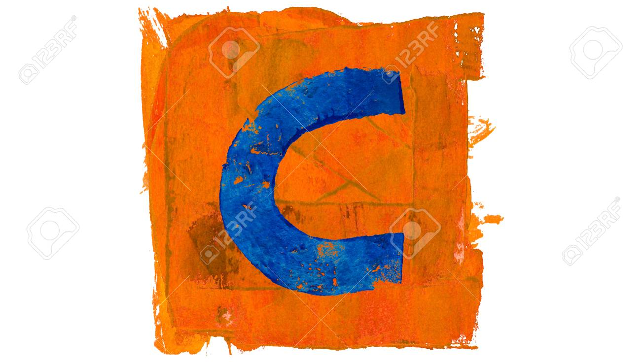 C Letter Symbol Of Blue Color In Orange Painted Square Stock Photo