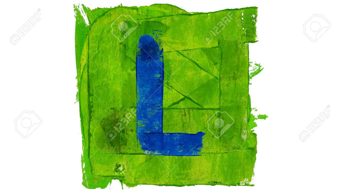 Letter L Sign Of Artistic Colors Alphabet Paint In Blue And Green Stock Photo