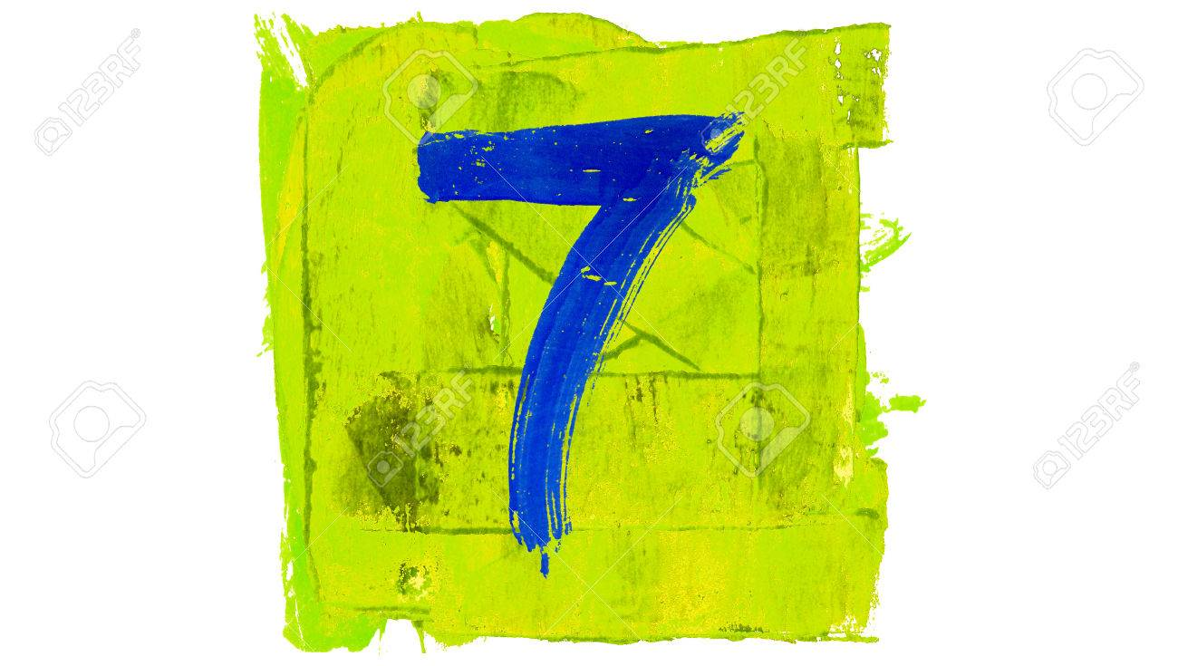 Number 7 Painted With Colourful Colors Stock Photo, Picture And ...