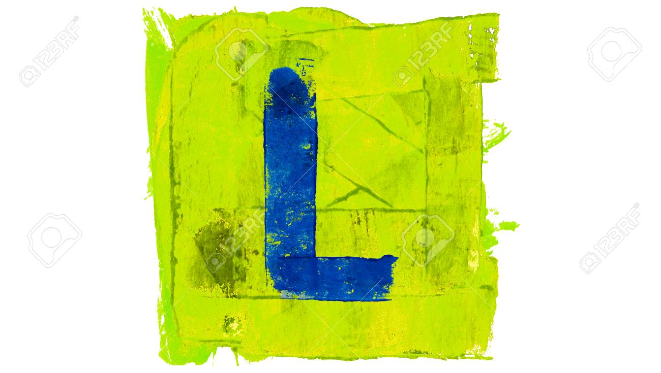 Letter L In Paint Square Of Bright Colors Stock Photo, Picture And ...