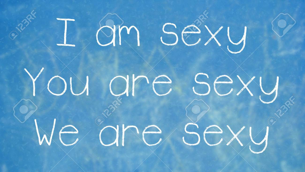 Sexy Word Use In Sentences On Class Blue Chalkboard Background Stock Photo