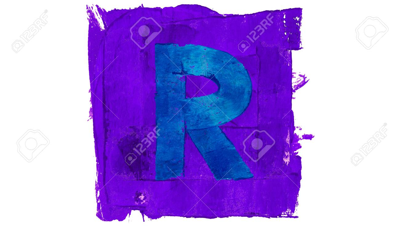 Symbol Of Letter R In Blue And Purple Paint Colors Stock Photo