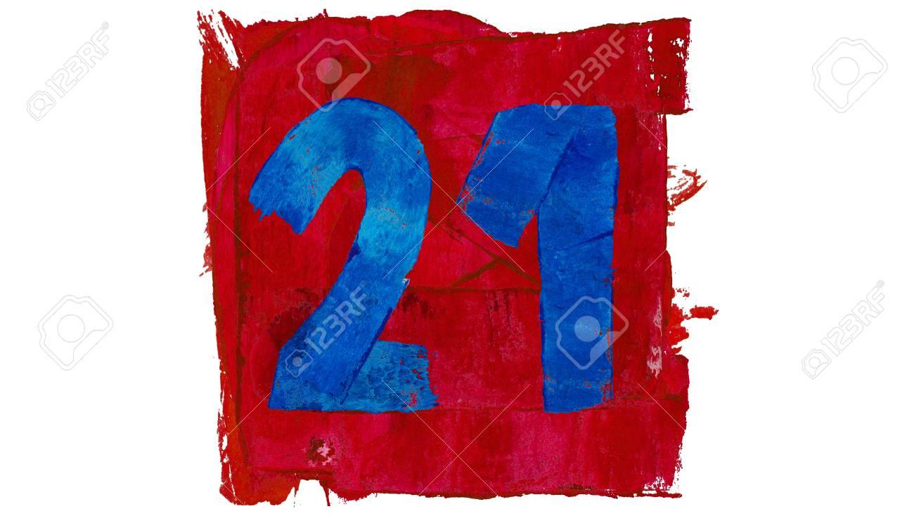 Número 21 Del Día Del Calendario Artístico En Colores Rojo Y Azul De