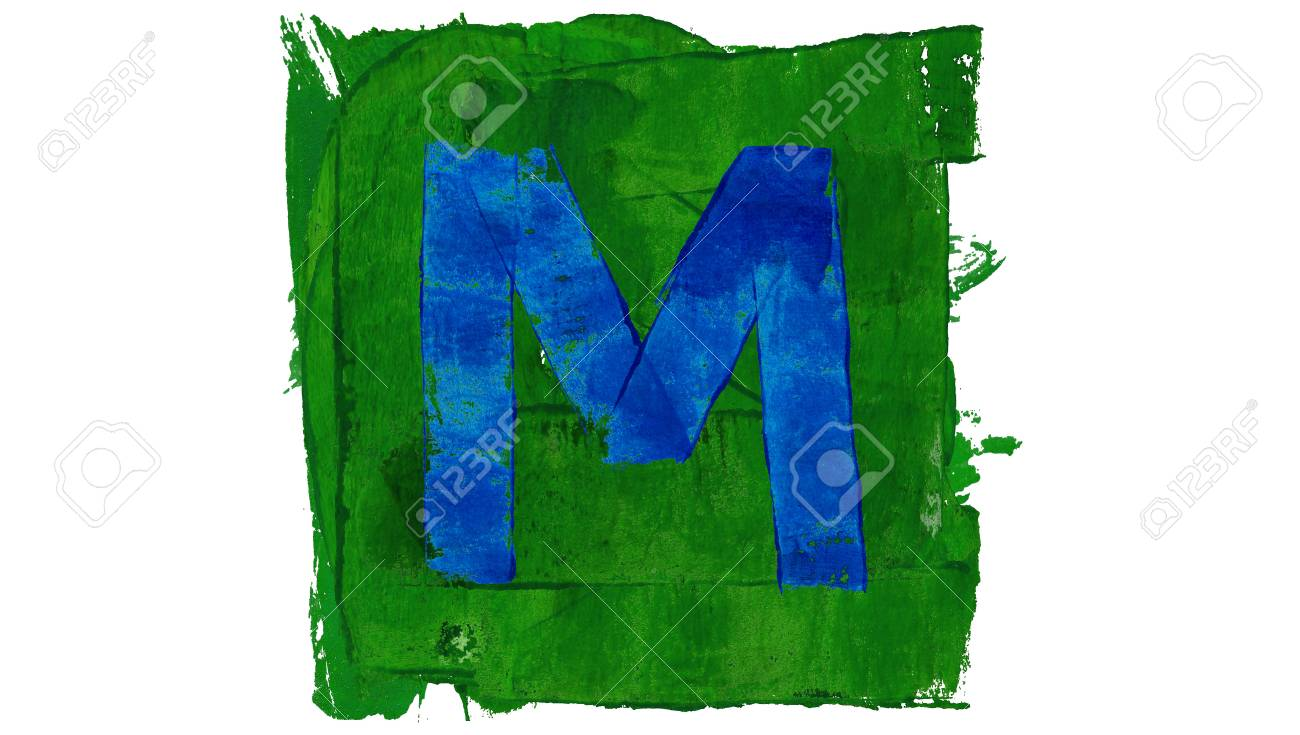 Letter M Symbol Of Blue Paint In Green Square Stock Photo Picture