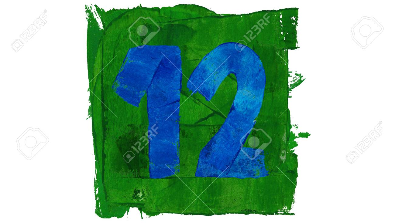 Twelve Number Painted With Blue And Green Colors Stock Photo ...