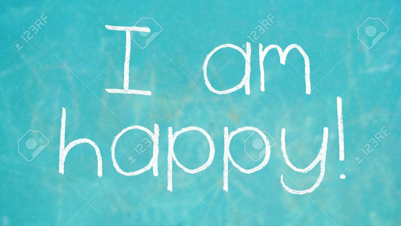 Ich Bin Glücklich Kreide Wörter Auf Blau Geschrieben Lizenzfreie