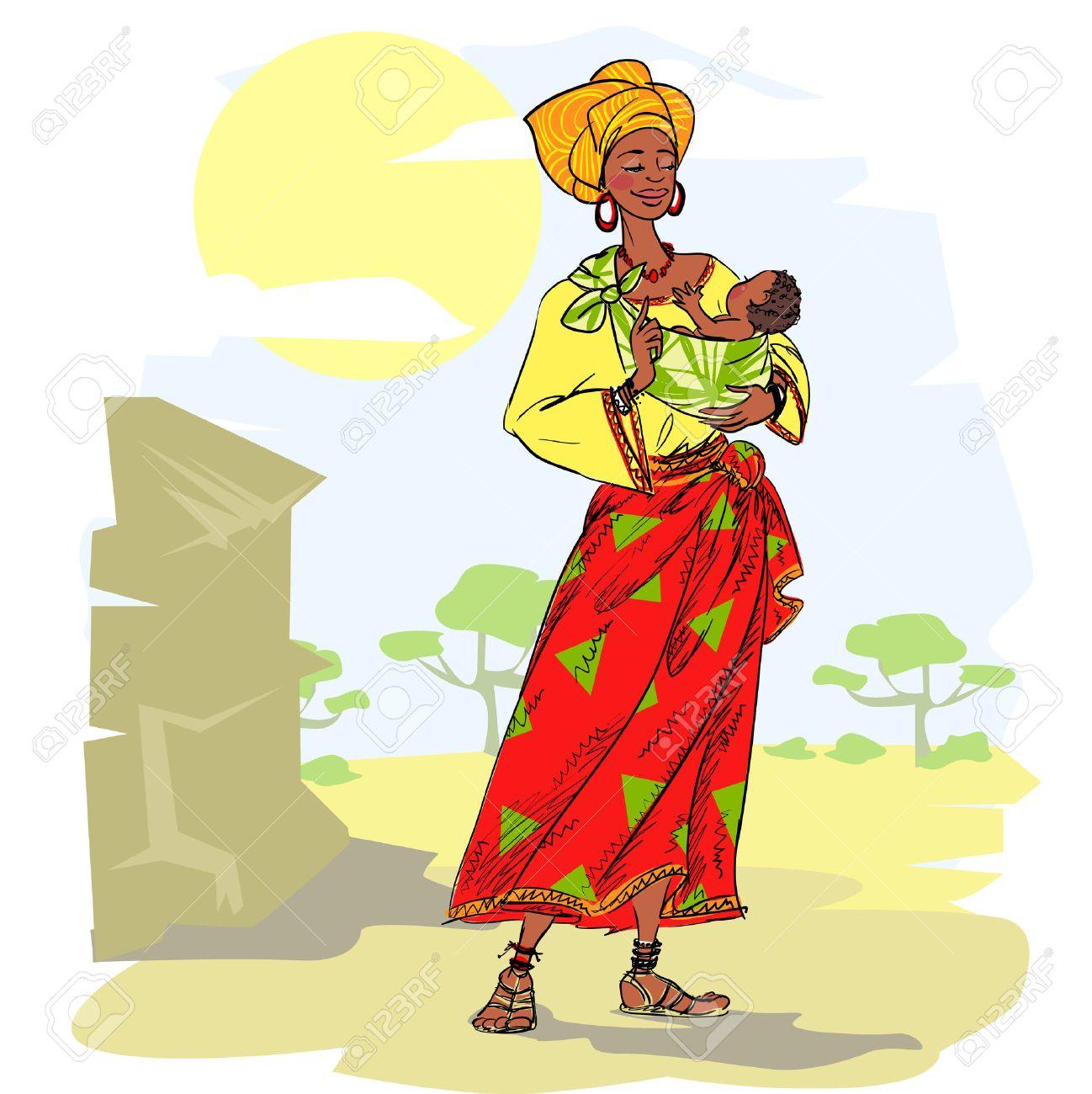 Dessin De Femme Africaine femme africaine avec bébé clip art libres de droits , vecteurs et