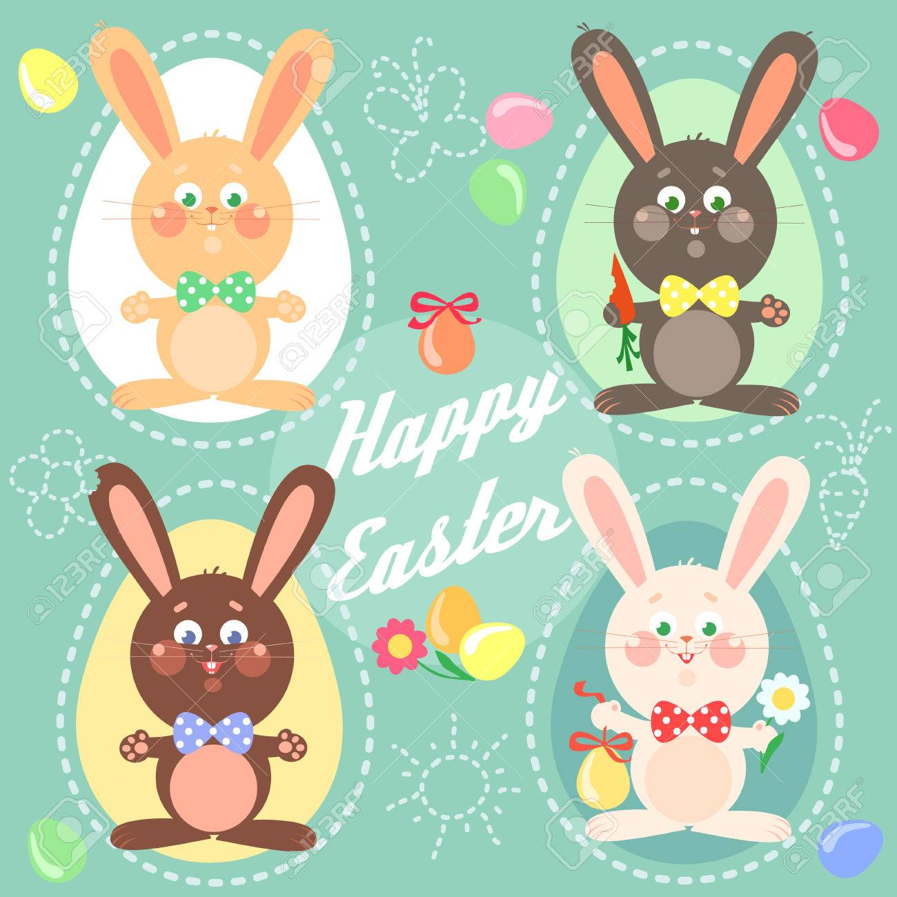 Happy Easter Card With Bunnies Royalty Free Cliparts Vectors – Happy Easter Card