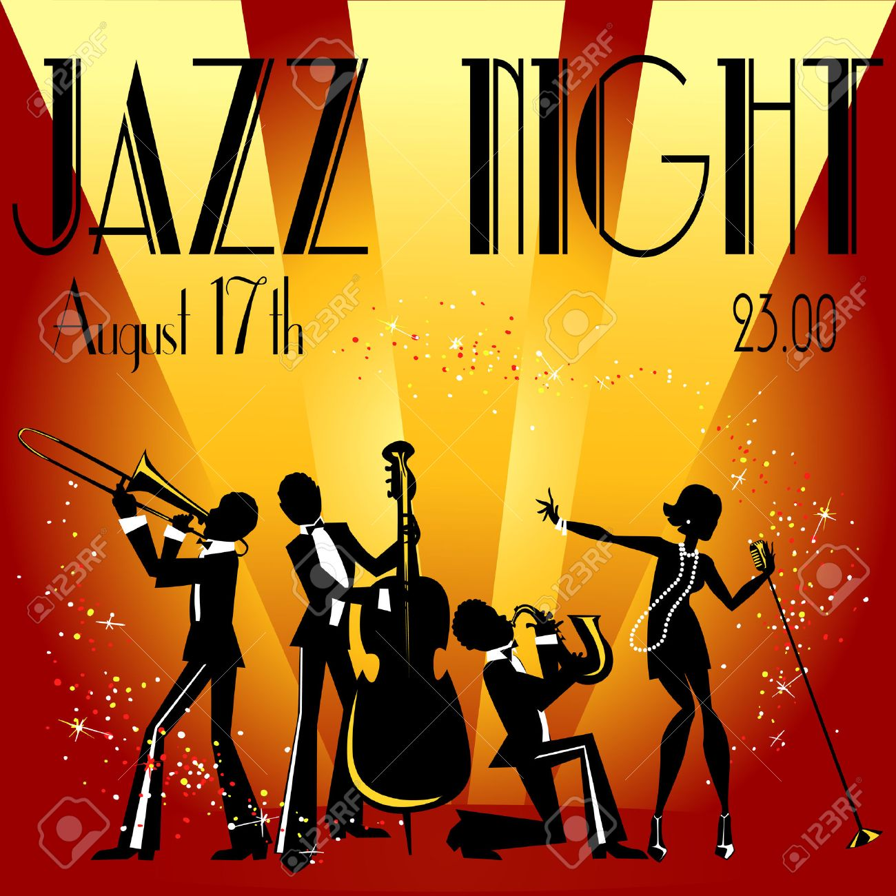 Abstract Jazz Band, Jazz Music Party Invitation Design, Vector ...