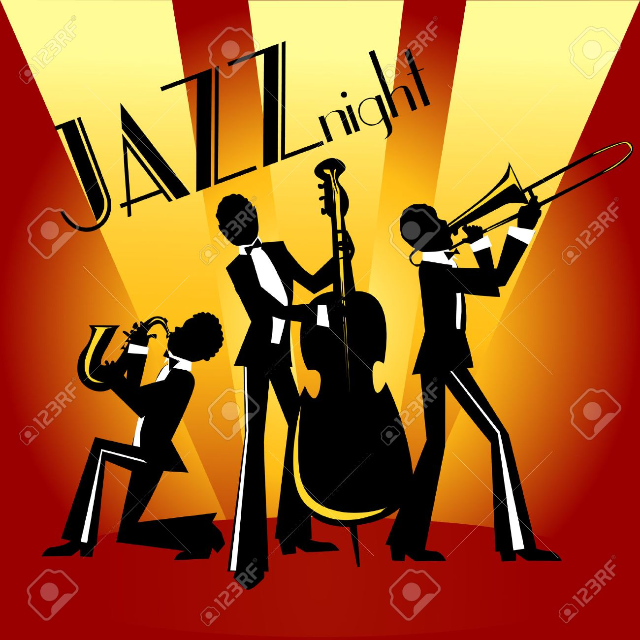 Abstract Jazz Band Jazz Music Party Invitation Design Vector