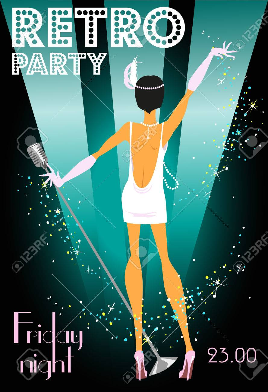 Retro Party Invitation Design With Sample Text, 1920s Style ...