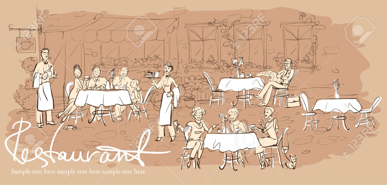 Restaurant Background With People people at restaurant, outdoor cafe - hand drawn horizontal
