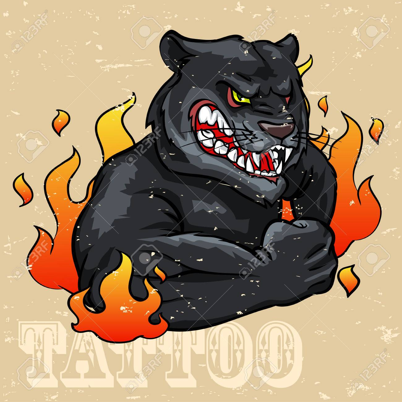 Black Panther Tattoo Design Grunge Effect Is Removable Royalty Free Cliparts Vectors And Stock Illustration Image 42814443