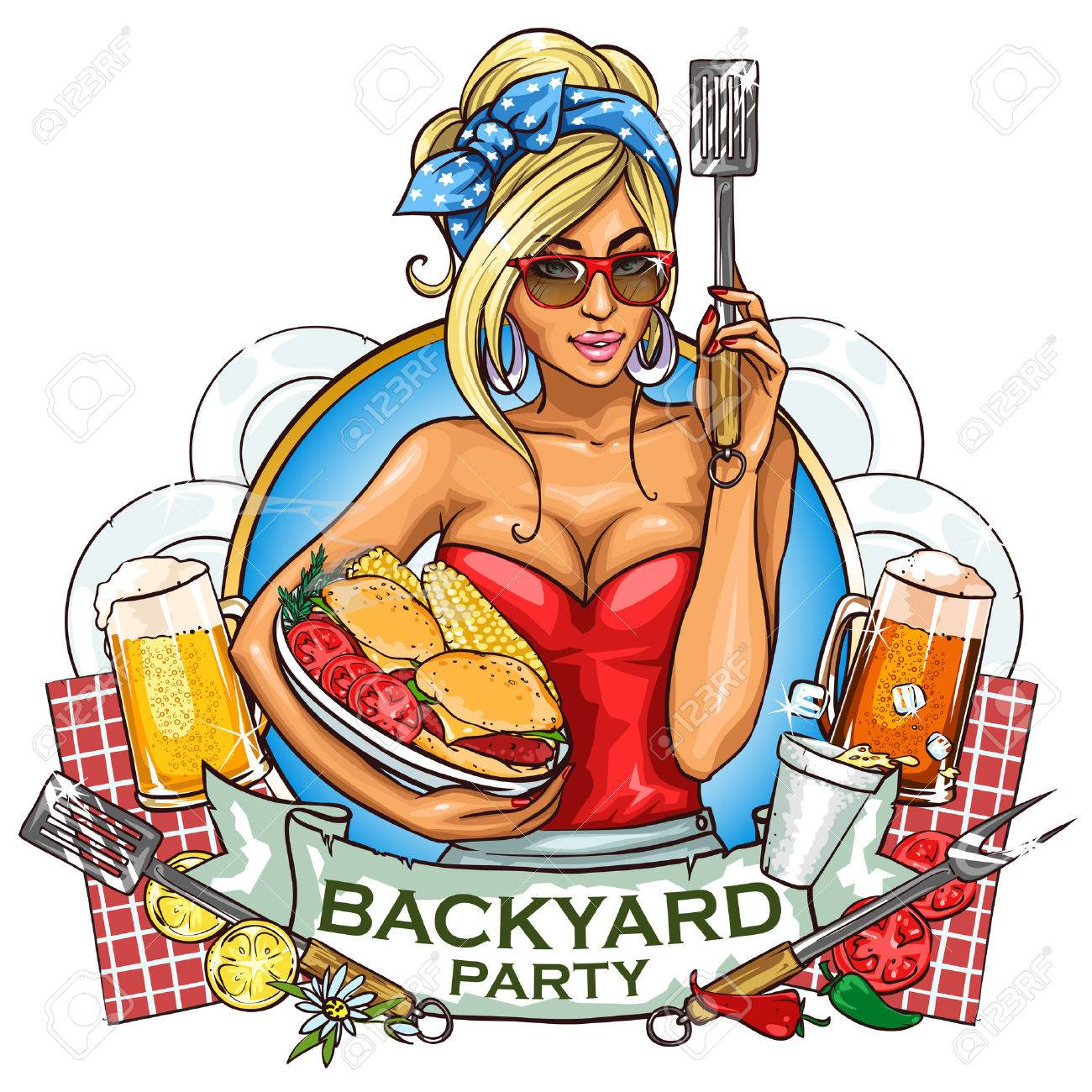 BBQ Grill Party Label Design With Ribbon Banner And Sample Text - Backyard bbq party cartoon