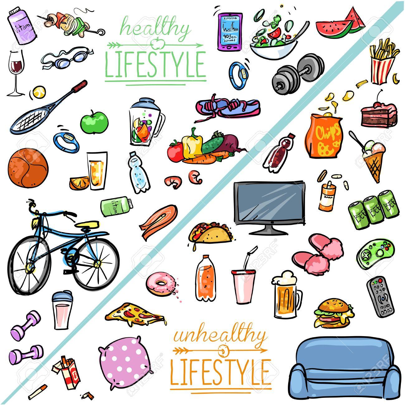 estilo de vida saludable vs no saludable estilo de vida coleccin de dibujos animados dibujados