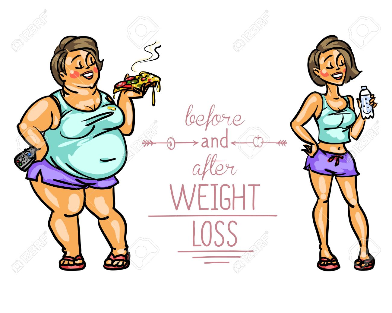 Woman Before And After Weight Loss Cartoon Funny Characters Royalty Free Cliparts Vectors And Stock Illustration Image 43560184