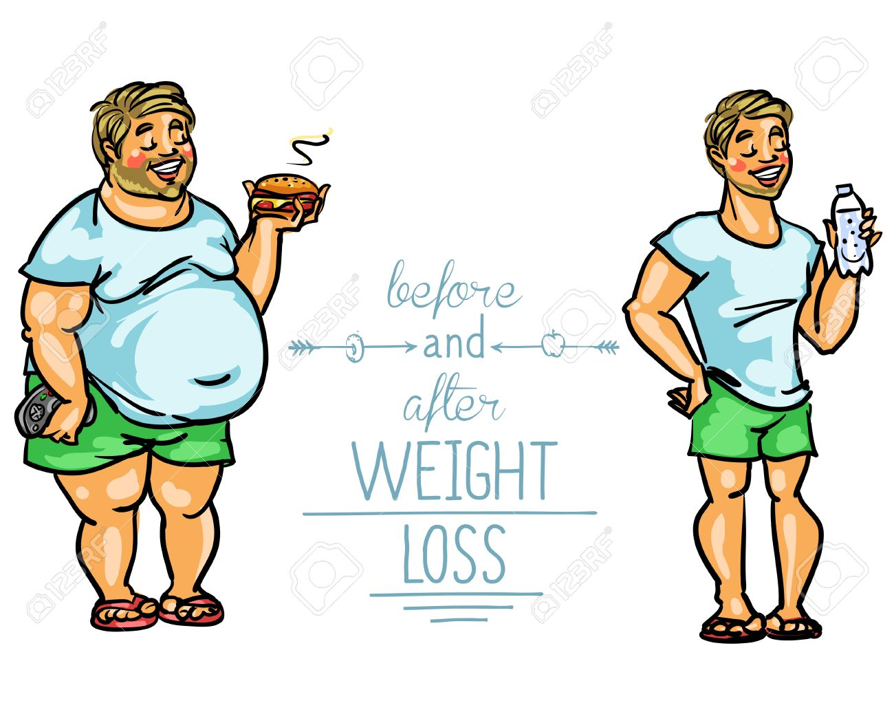 Man Before And After Weight Loss Cartoon Funny Characters Royalty Free Cliparts Vectors And Stock Illustration Image 43560190