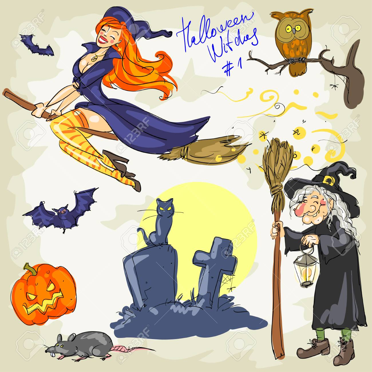 Halloween Witches - 2  Hand drawn collection of witches and witch