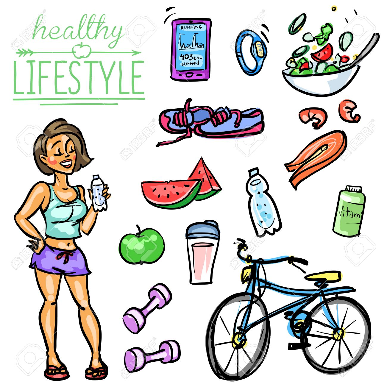 Hand drawn vector collection of Healthy Lifestyle foods and sports Stock Vector - 43836371