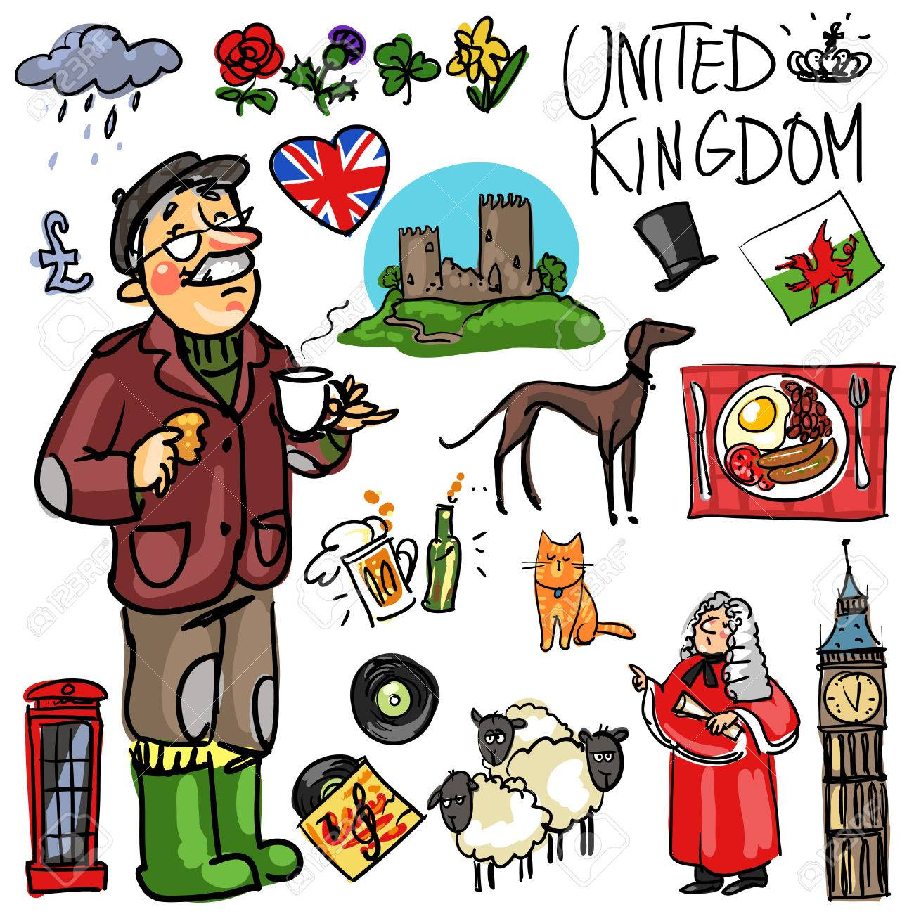 Set Of Cartoon Hand Drawn Travelling Attractions United Kingdom