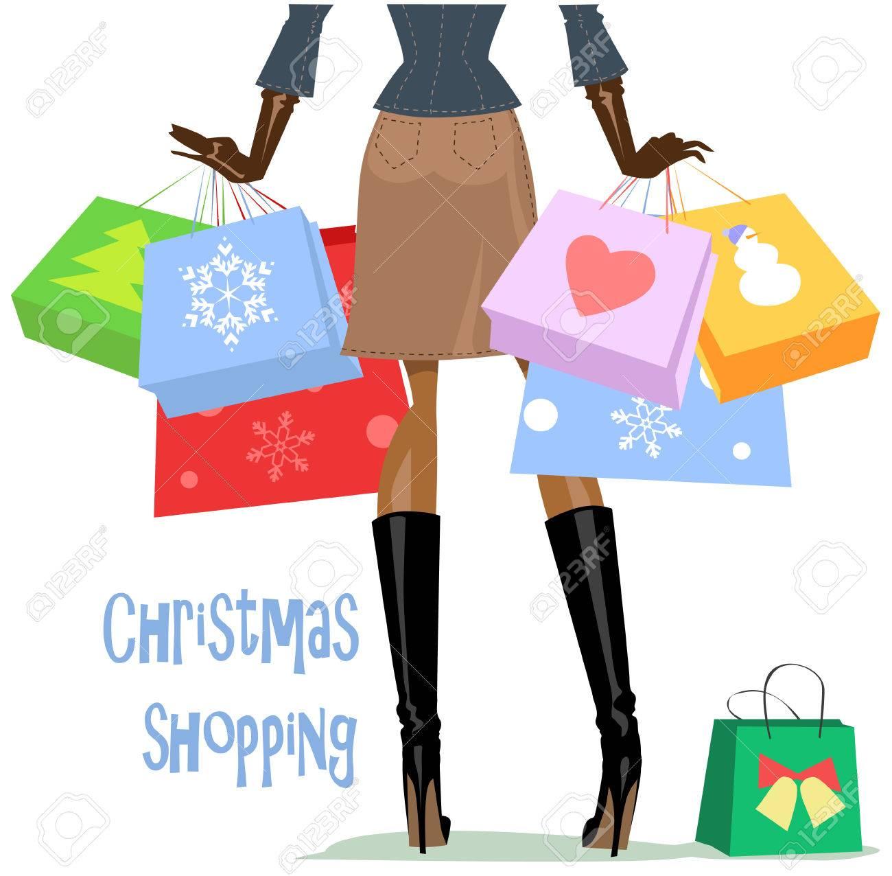 a3882ba5eb Foto de archivo - Mujer con bolsas de compras