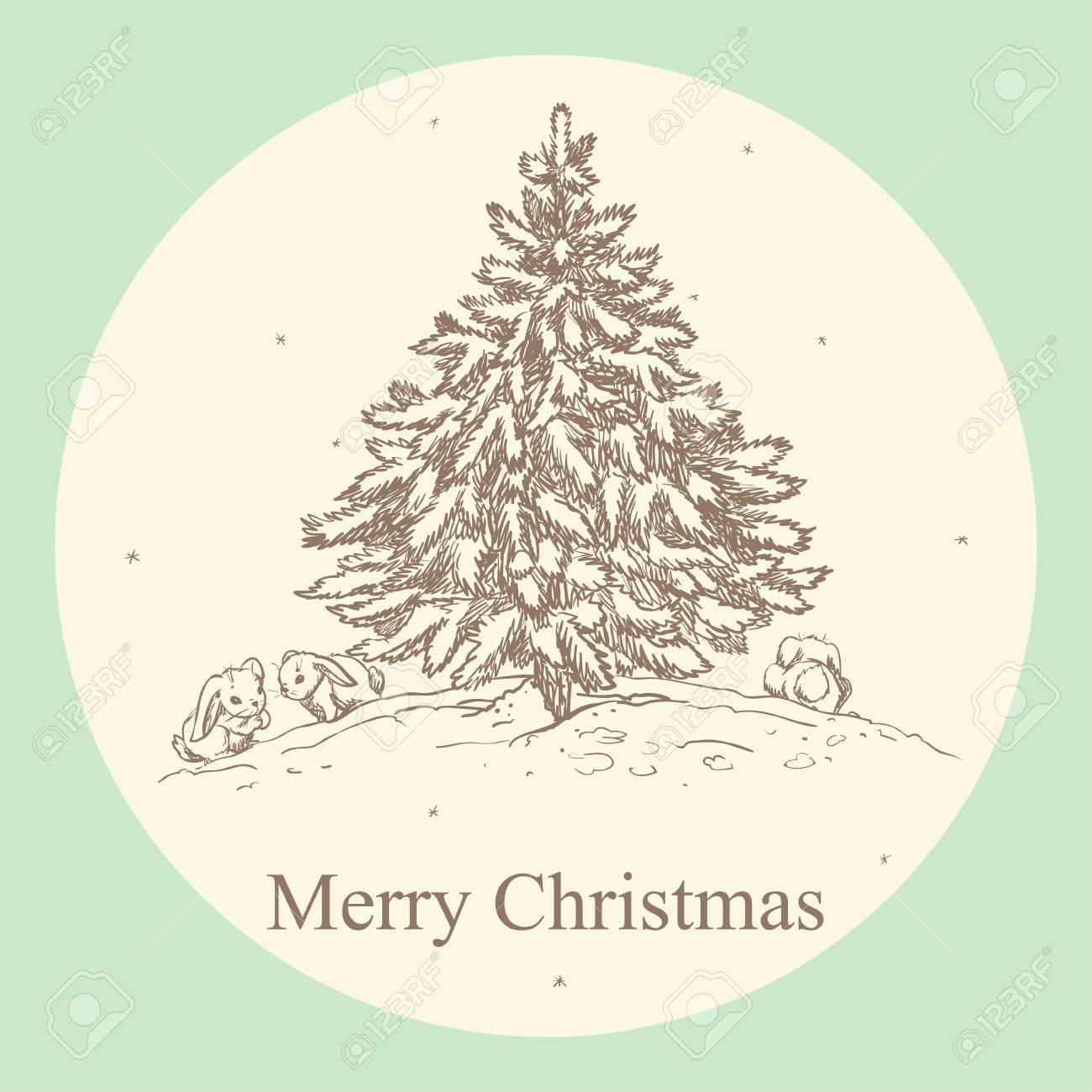 Vintage Christmas Card With Hand Drawn Christmas Tree Royalty Free Cliparts Vectors And Stock Illustration Image 44411877