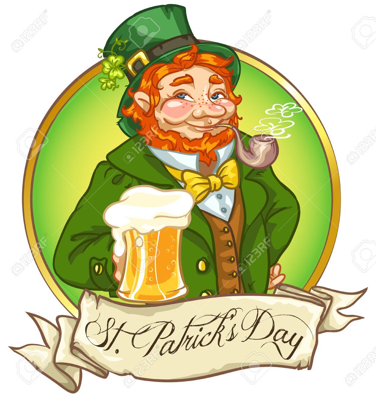 Le bar , ouvert H24 et 7 jours sur 7  - Page 38 44411898-leprechaun-l-homme-avec-de-la-bière-irlandaise-la-saint-patrick-conception-d-étiquettes-avec-un-es