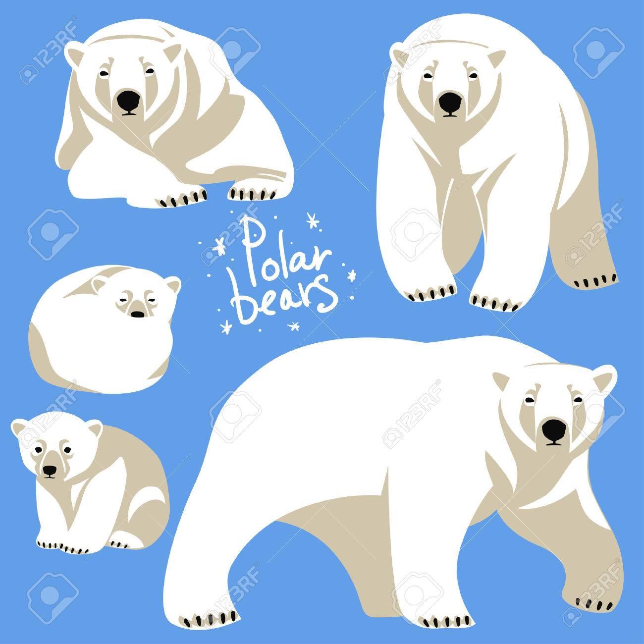 Polar Bears collection. Clip art isolated on blue - 44688549