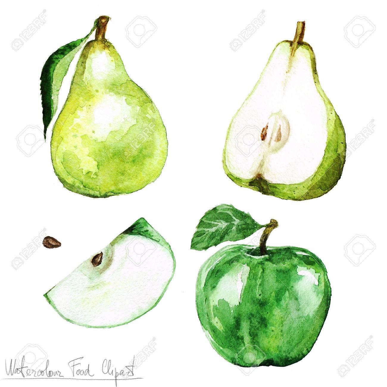 水彩食べ物クリップアート 洋梨とリンゴ の写真素材画像素材 Image