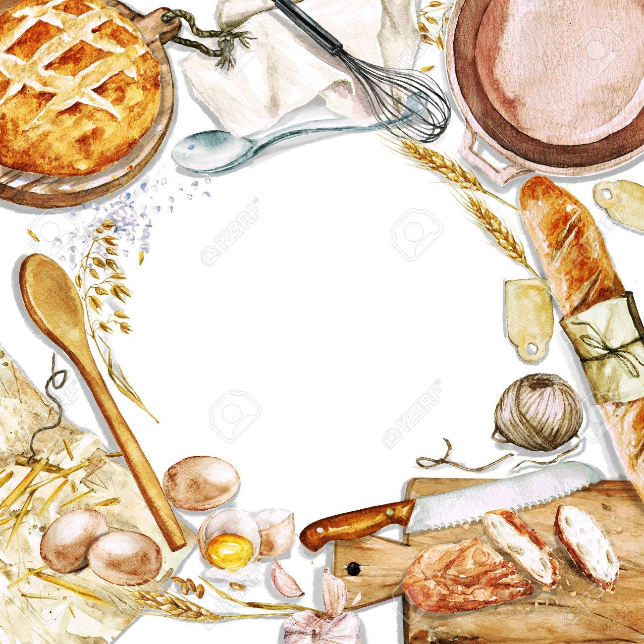 Watercolor background with space for text - Cooking Bread - 53240460
