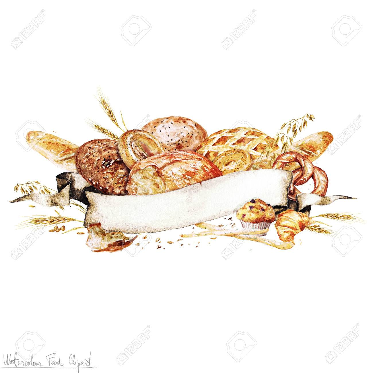Watercolor Ribbon banner - Cooking Bread - 53240480