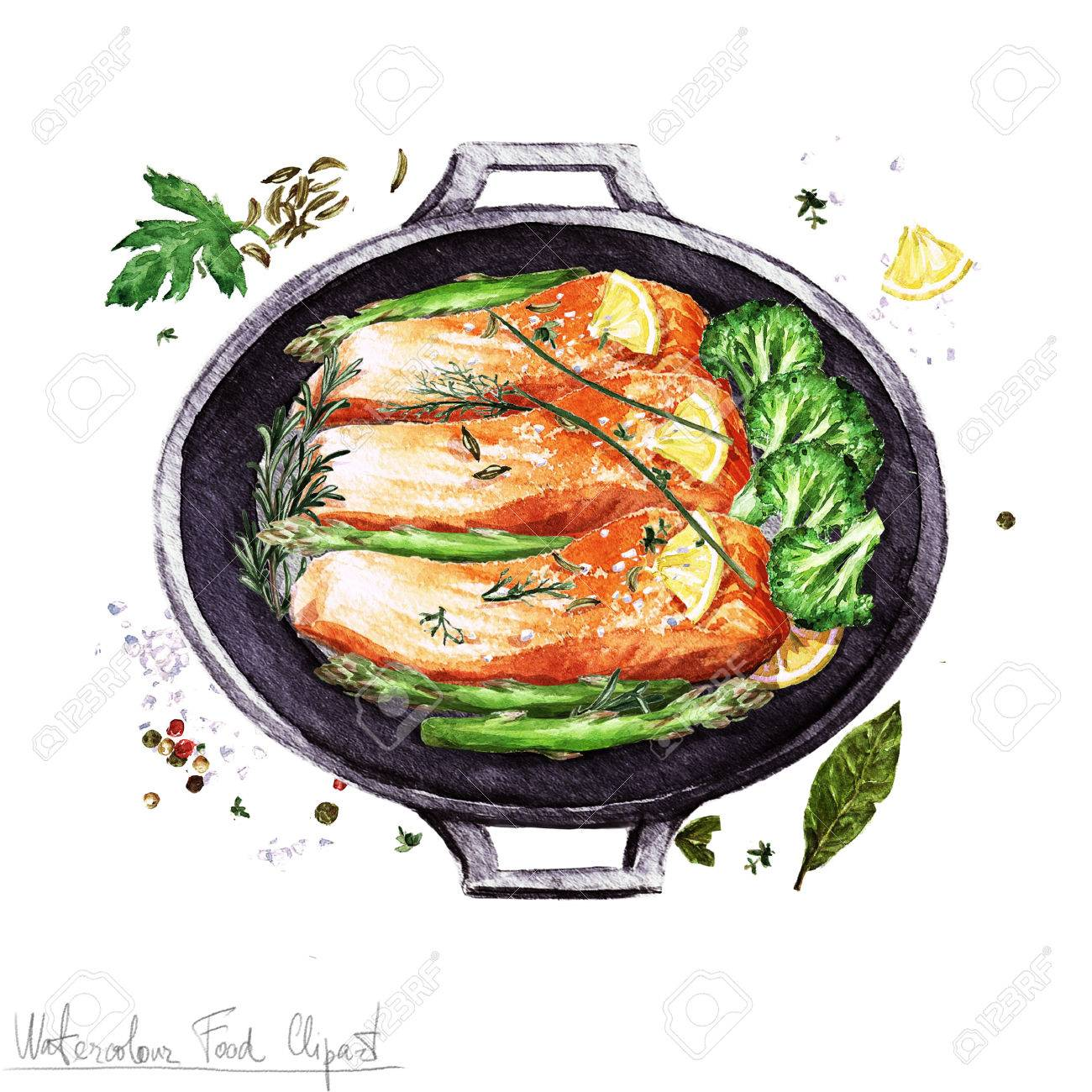 Watercolor Food Clipart - Salmon In A Cooking Pot Stock Photo ... for cooked salmon clipart  103wja