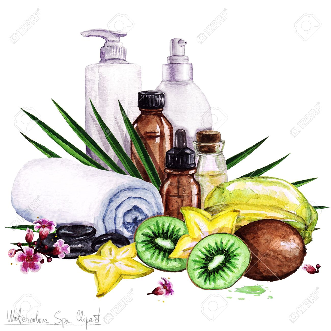 watercolor spa clipart collection of spa and beauty products rh 123rf com spa clip art free images spa clipart background