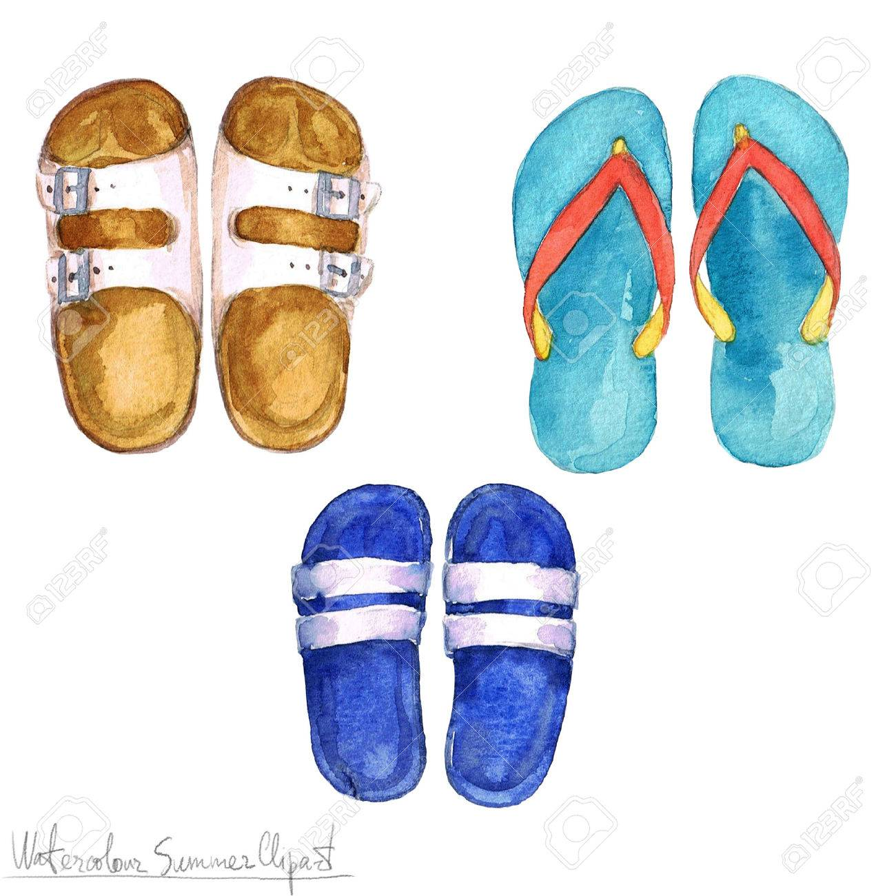 5bdd9479e3a121 Watercolor Summer Clipart - Flipflops Stock Photo - 56638803