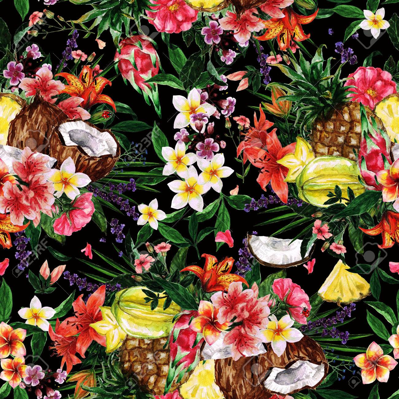 watercolor seamless pattern tropical flowery background stock