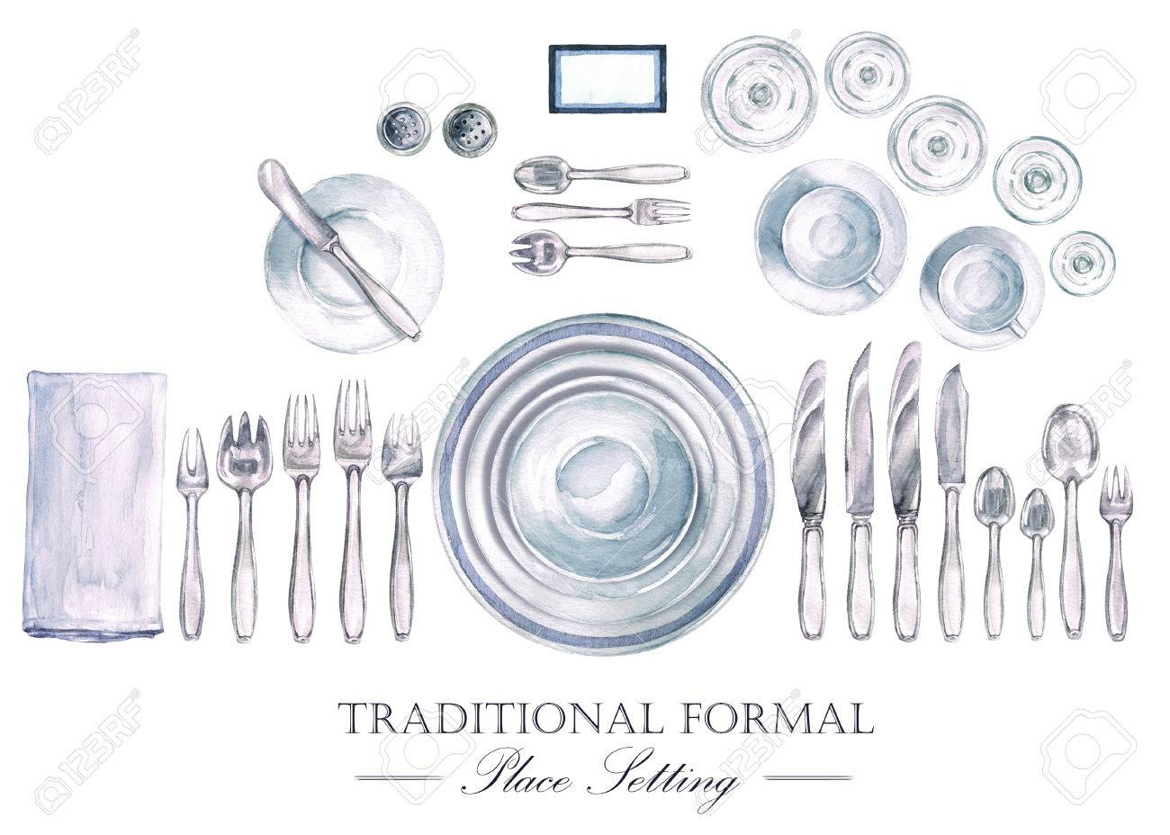 Illustration - Traditional Formal Place Setting. Watercolor Illustration  sc 1 st  123RF.com & Traditional Formal Place Setting. Watercolor Illustration Stock ...