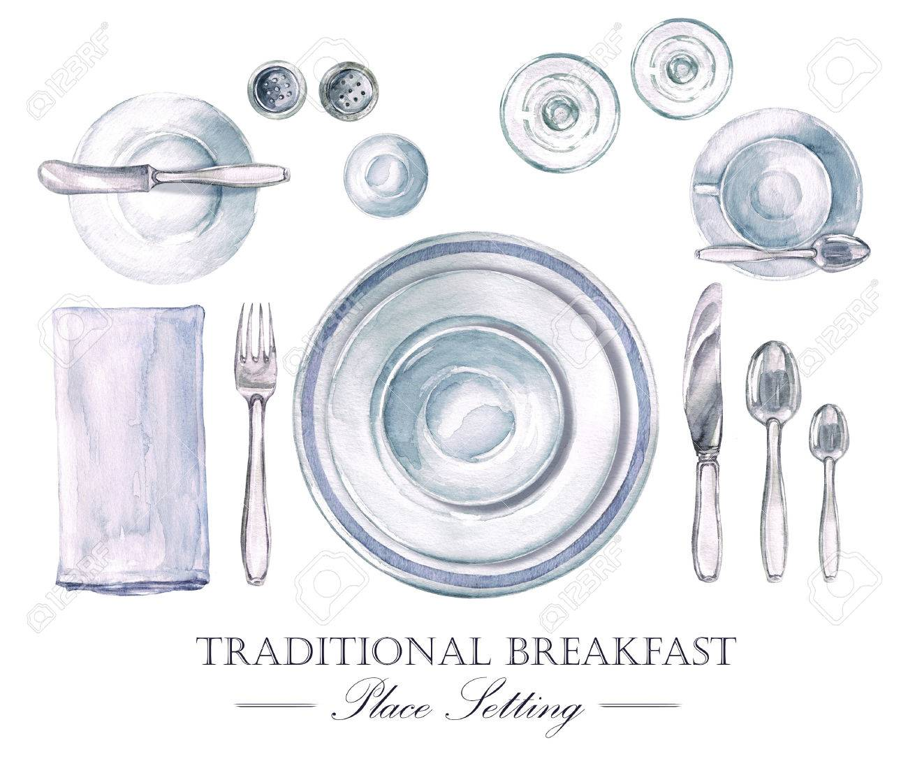 Traditional Breakfast Place Setting. Watercolor Illustration Stock ...