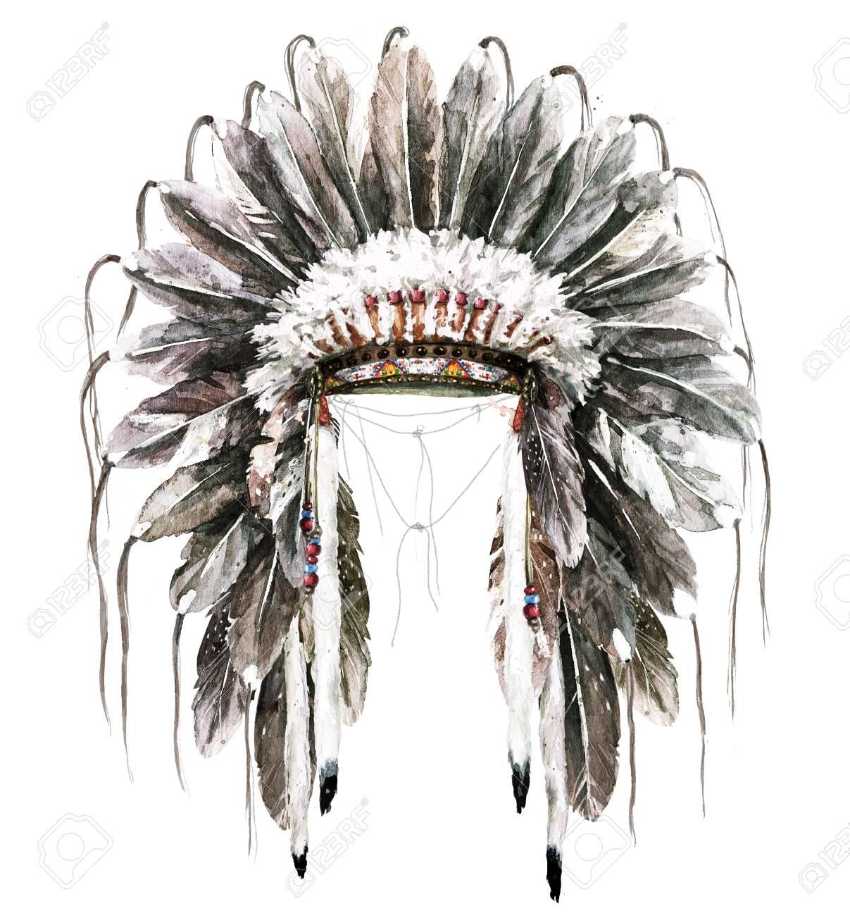 99849556f War Bonnet. Watercolor Illustration. Stock Illustration - 98367472