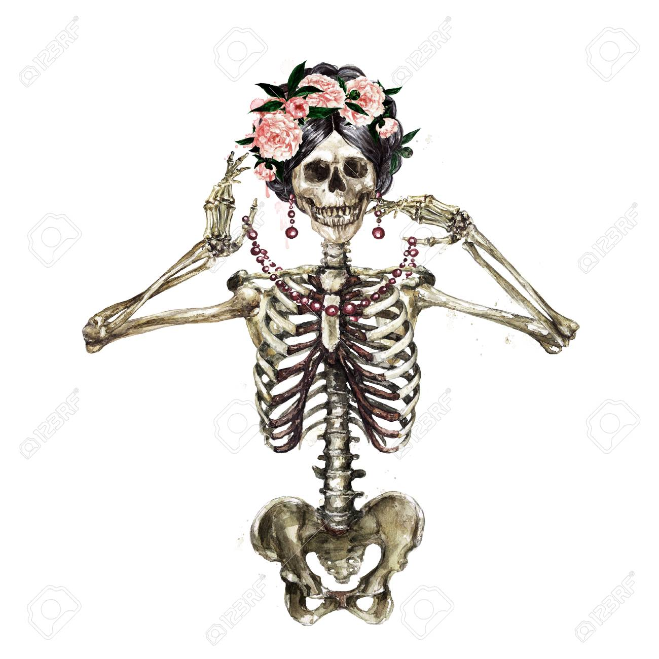 Human Skeleton decorated with flowers. Watercolor Illustration. - 106199343