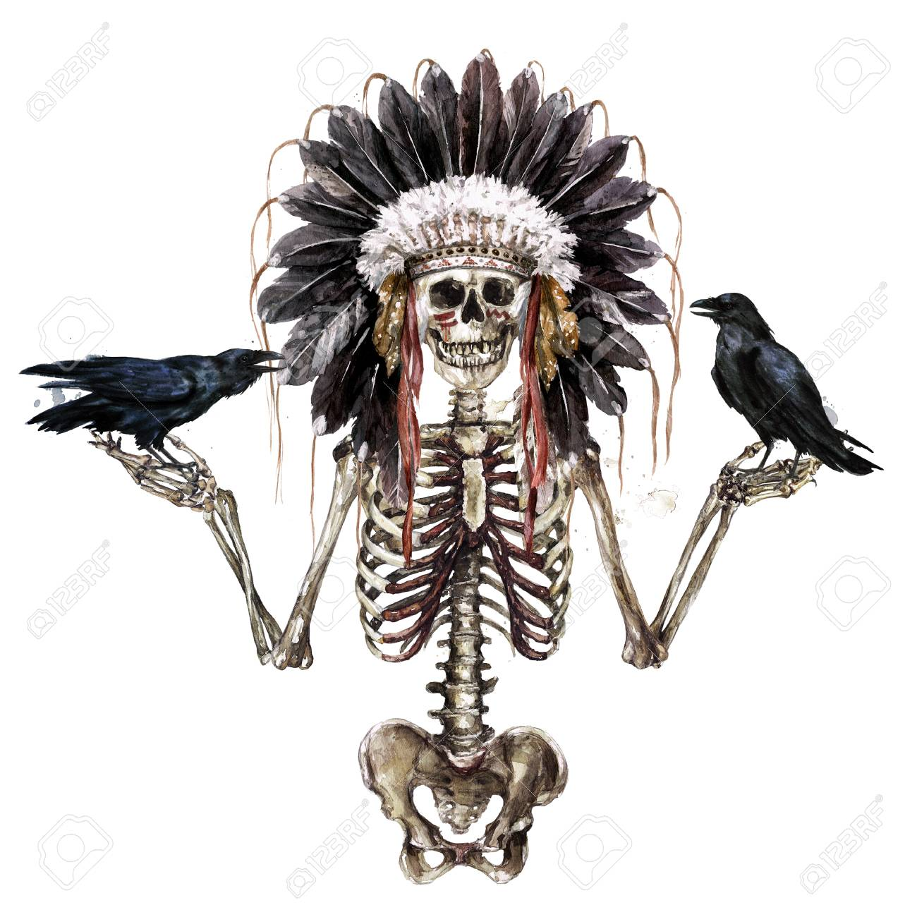 Human Skeleton Decorated With War Bonnet. Watercolor Illustration. Stock  Photo, Picture And Royalty Free Image. Image 106199345.