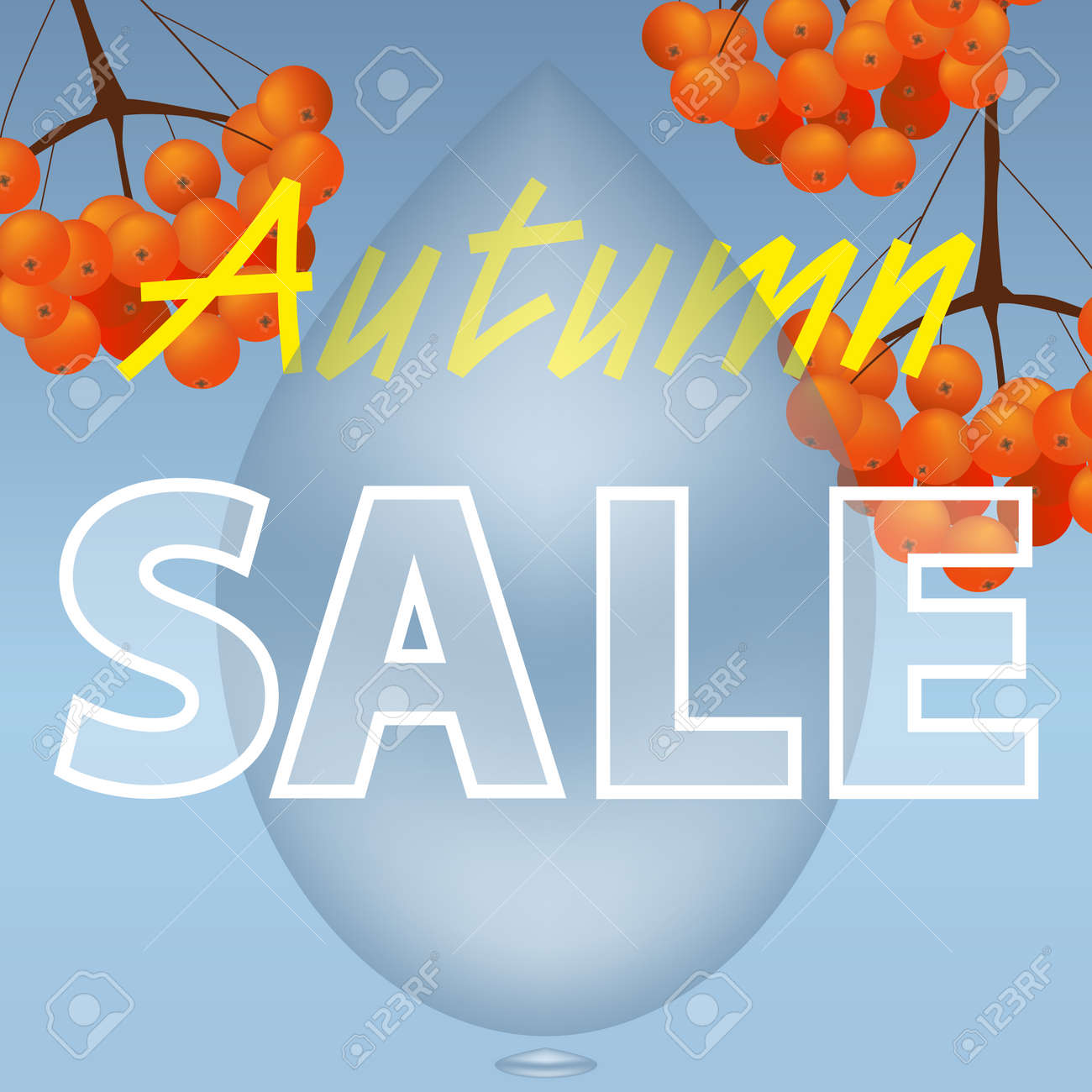 Autumn sale design. Fall discount. The inscription with branch of rowan with raindrop. Can be used in business for advertising, banners or posters. Vector illustration. - 155675880