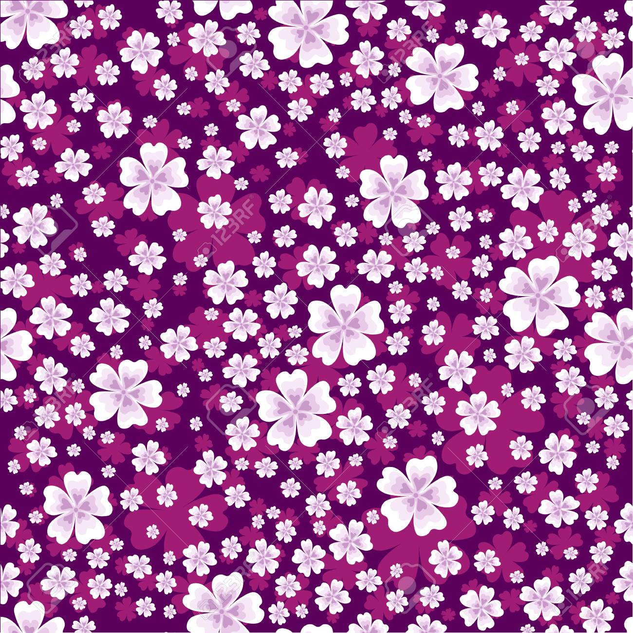 Seamless Floral Pattern With White And Pink Colored Flowers